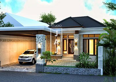 desain rumah 2 lantai luas bangunan 170m2 style bali