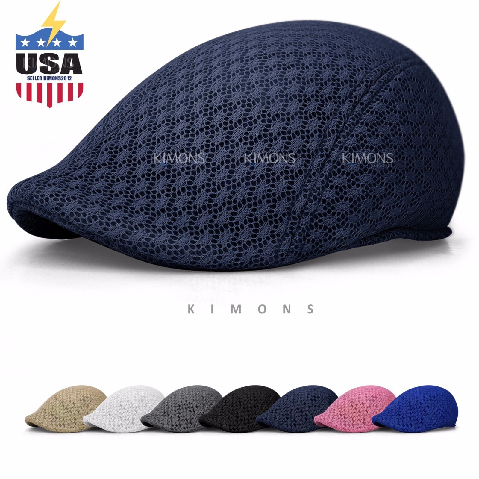 c4d8dc79e3f39 Duck Mesh Summer Gatsby Cap Mens Ivy Hat Golf Driving Sun Flat Cabbiesboy