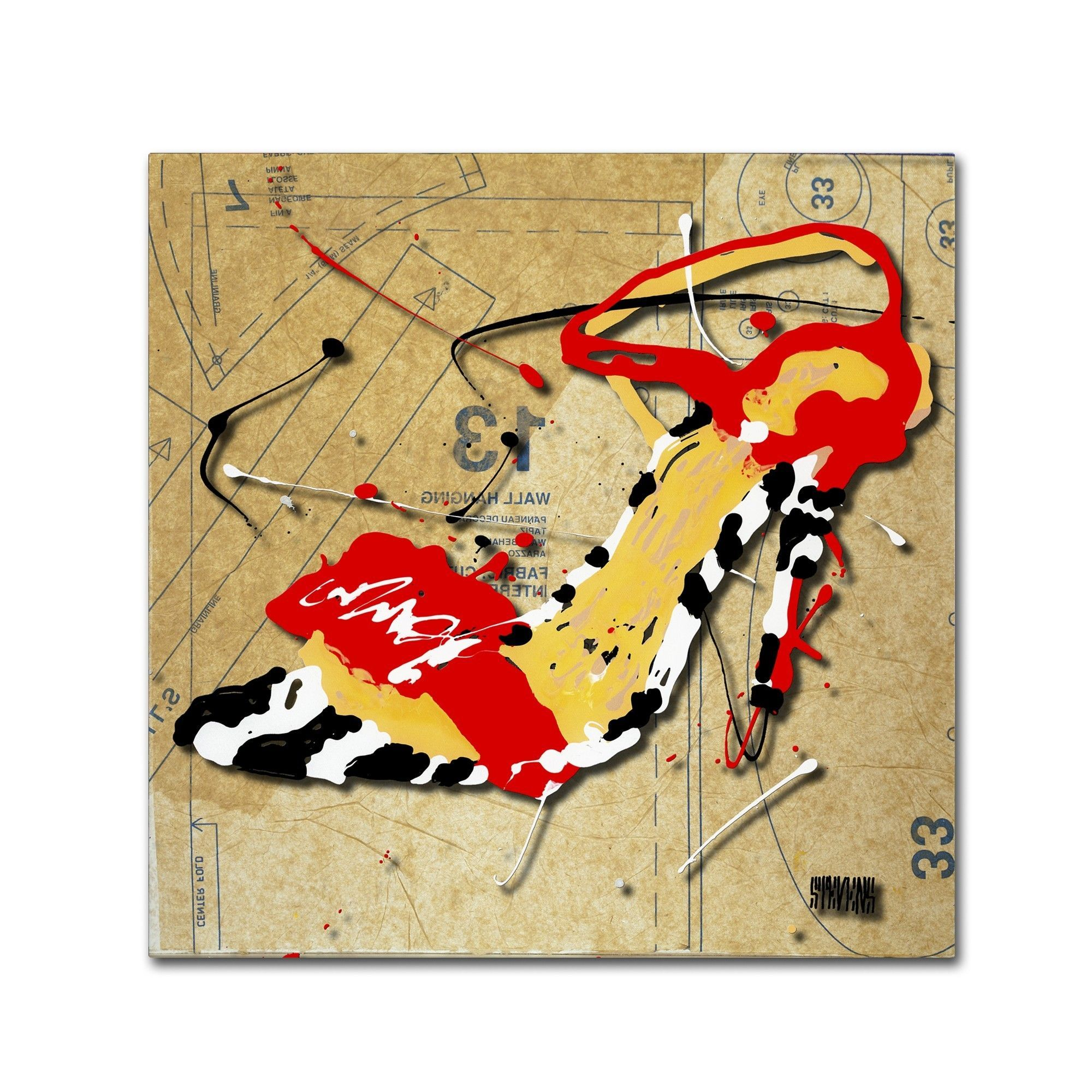 Zebra Heel Red by Roderick Stevens Painting Print on Wrapped Canvas ...