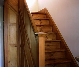 Stripped And Sanded Panelled Staircase