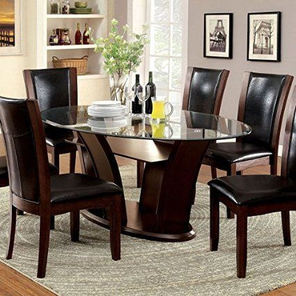 Manhattan Dark Cherry Finish Oval Glass Top Dining Table Set U003eu003eu003e Click Image  For More Details Affiliate Link.