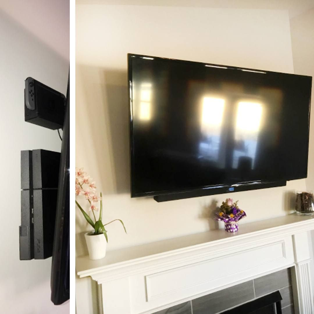 Hidden Nintendo Switch And Ps4 By Wall Mounting Them Living Room Plan Family Living Rooms Modern Pool House
