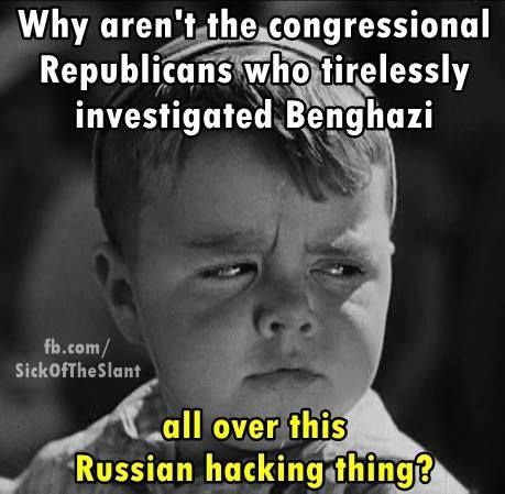 Rethuglicans be like.. Espionage? Russian Cyber Attack against the USA? Treason?... no big deal, they all helped get Herr Gröpen-Fuhrer Drumpf elected Pedator in Chief to protect & promote our Corporate Overlords, so lets just sweep it under the rug. (Now if a DEMOCRAT won the election with the direct help and interference of the Kremlin, how long do you think it would take the GOP to begin investigative hearings?)