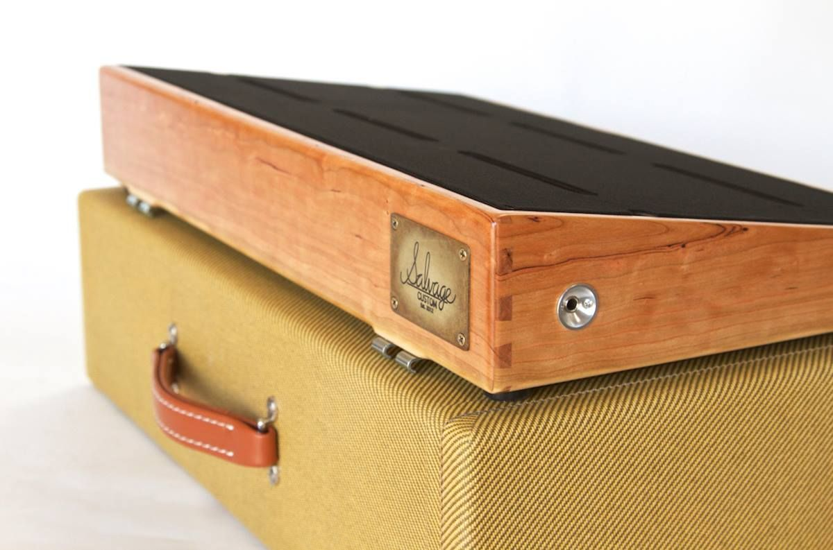 24 x 13 figured cherry pedalboard with a vintage tweed case made by salvage custom handmade in. Black Bedroom Furniture Sets. Home Design Ideas