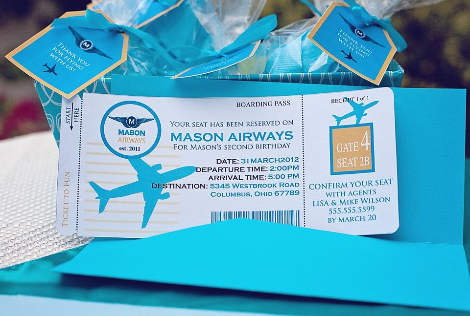 DIY Printable AIRPLANE Birthday Invitation Kit - Invite AND Thank - plane ticket invitation template