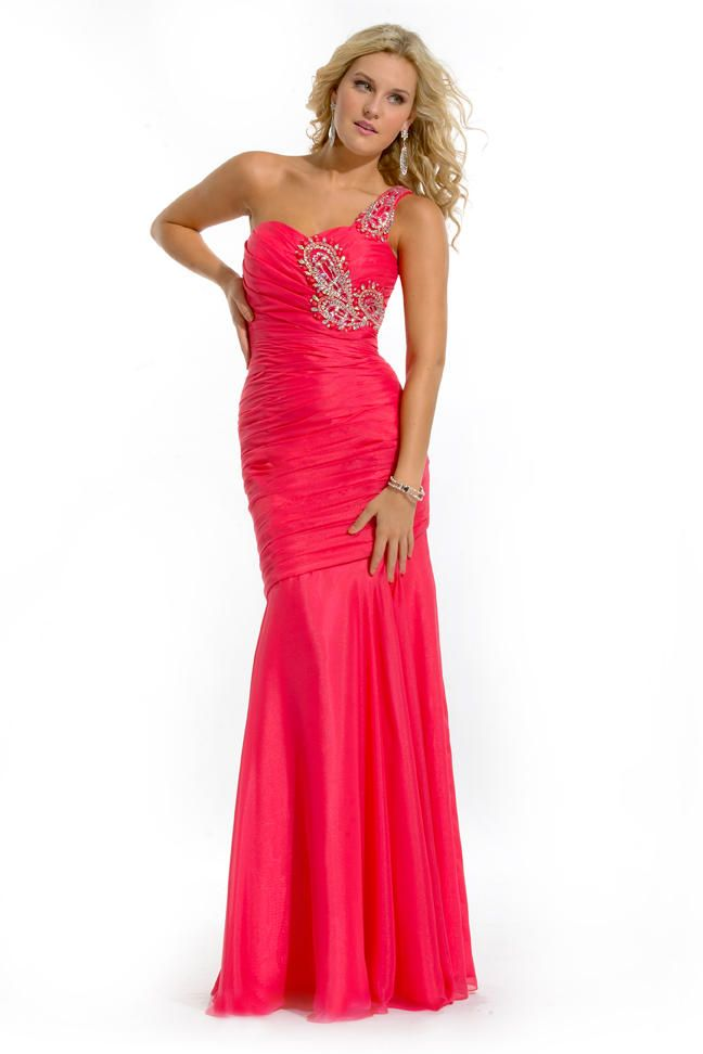 Column One Shoulder Beaded Hot Pink Prom Gown | Prom Dresses ...