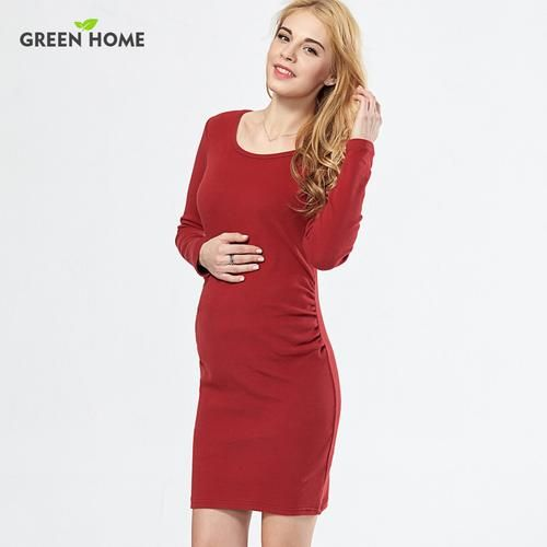 773e671050247 Green Home Fitness Red Jersey Maternity Dress Pregnancy Dress for Pregnant  Women Daily Wearing Long Sleeve Maternity Clothing