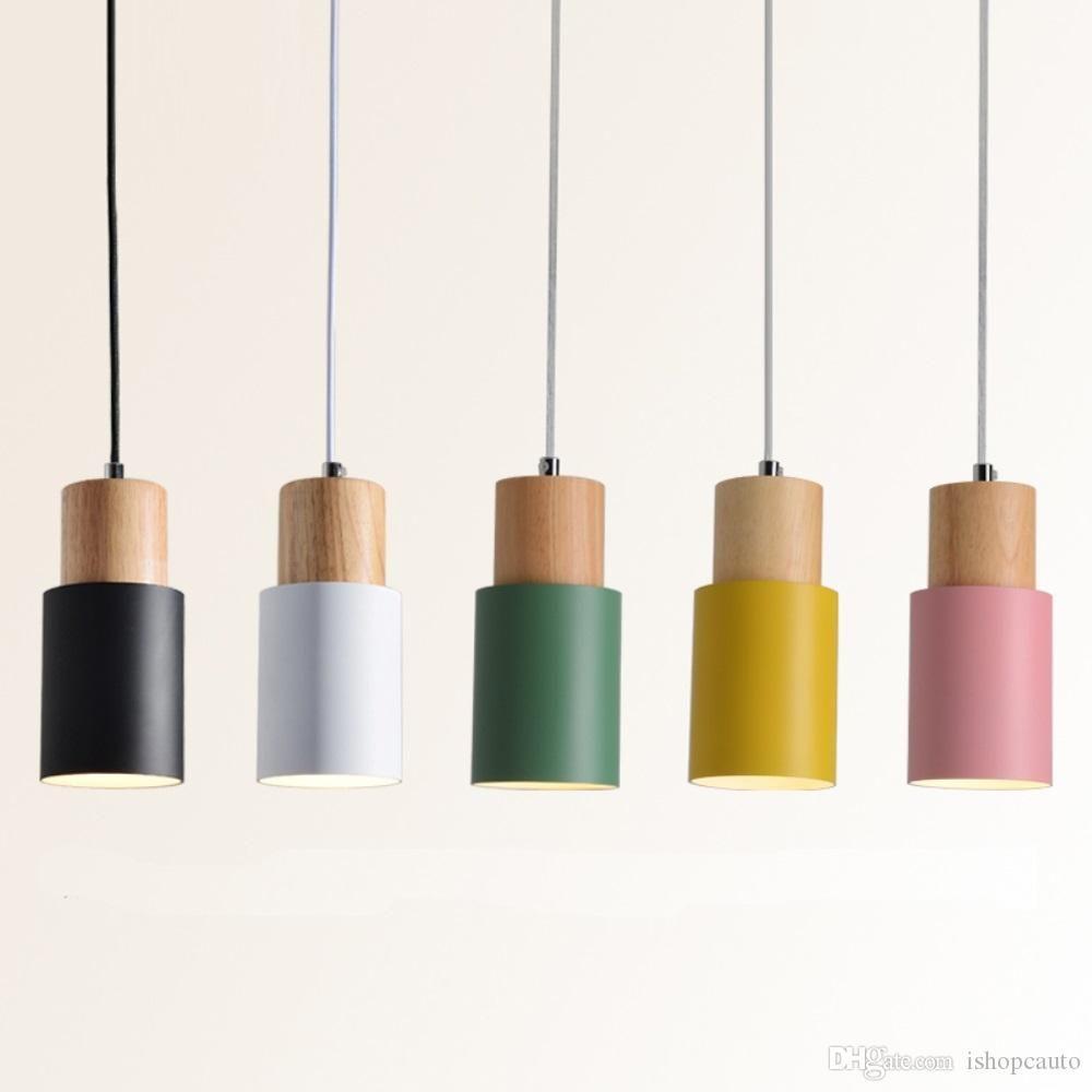 Designer Nordic Simple Wood Pendant Lights Led Hang Lamp Colorful Aluminum Fixture Kitchen Island Wooden Pendant Lighting Wood Pendant Light Led Pendant Lights