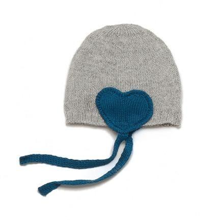 Heart hat in light grey/teal