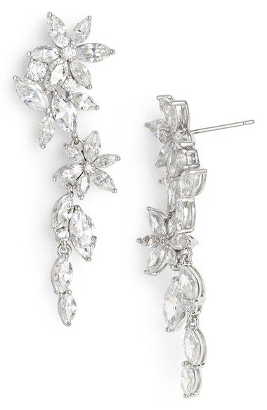 Nadri Nadri Floral Crystal Linear Drop Earrings available at