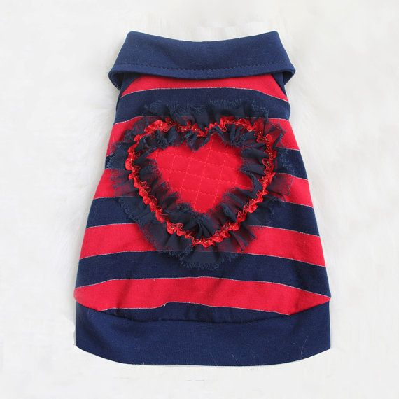 Heart Breaker Red Striped Luxury Dog Polo Shirt by OrostaniCouture, $169.00