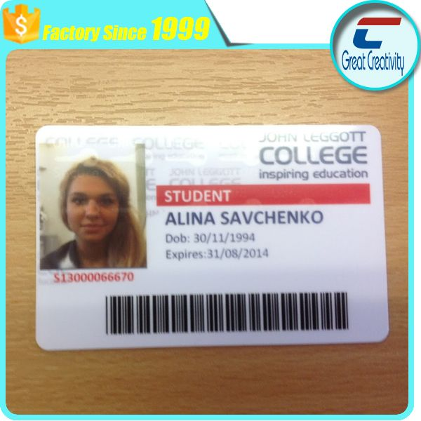 Plastic PVC School Student ID card bar code or sequential numbering