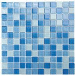 mosaique pate de verre mix bleu