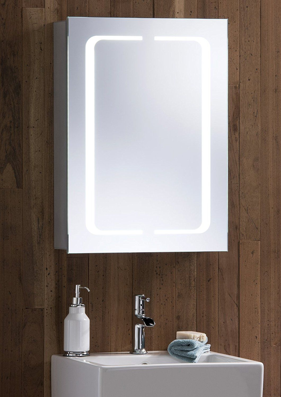 LED Illuminated Bathroom Mirror Cabinet With Demister Heat Pad ...