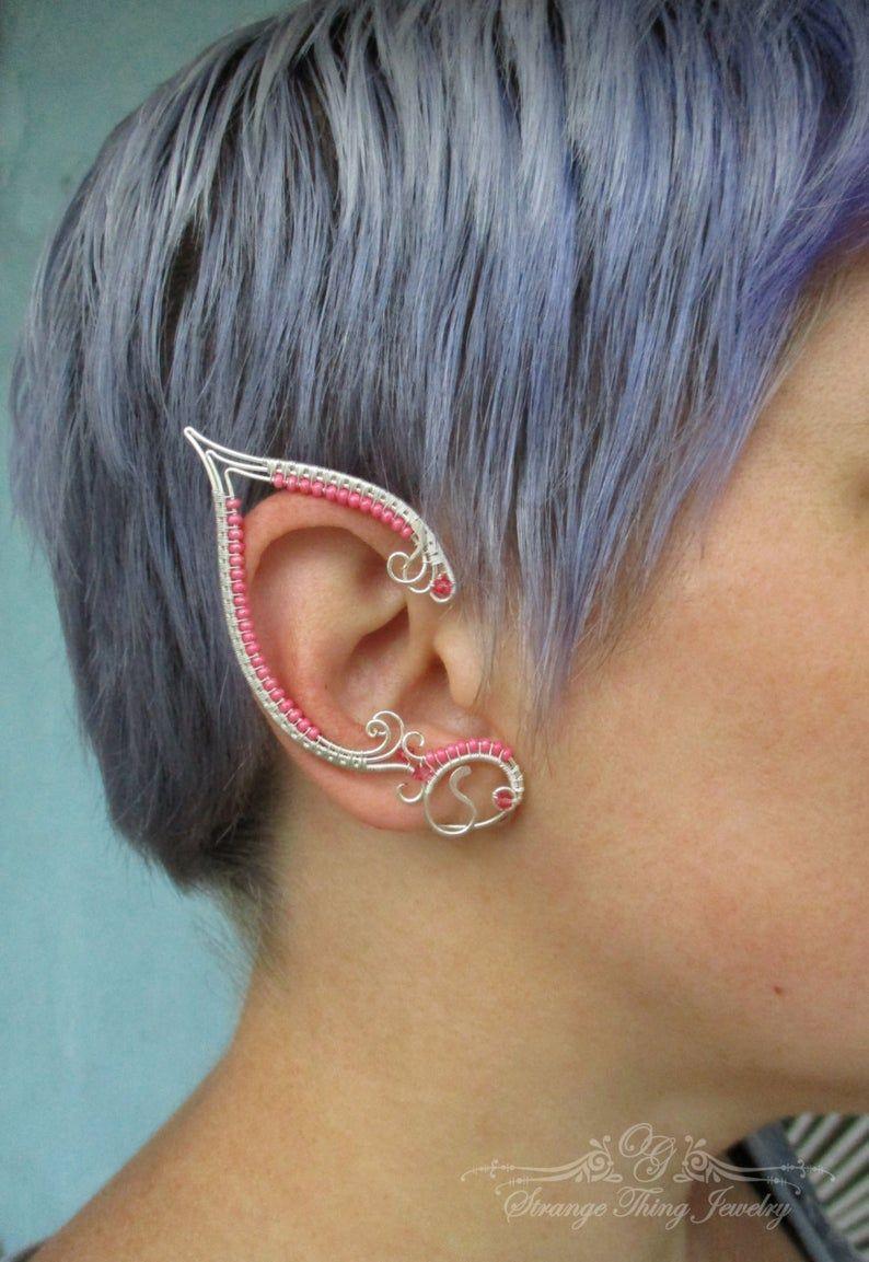 Elven Ear Cuff Pink Elven Ear Cuff Fantasy Ear Cuff Wedding Ear Cuff Flower Ear Cuff Bohemian Ear Cuff Festival Ear Cuff Pink Wire Ear Cuff