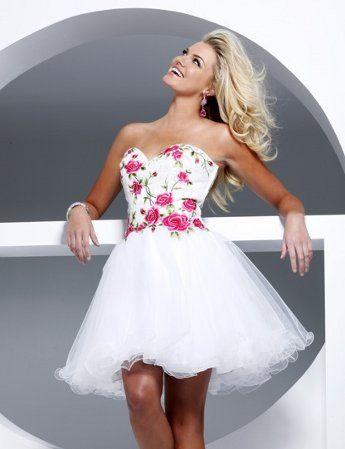 Vestidos cortos de 15 color blanco