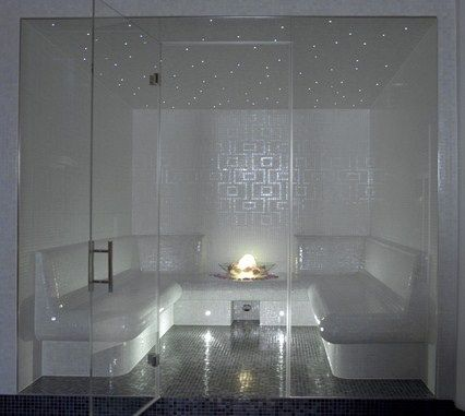 Day spa steam room featuring fibre optic lighting