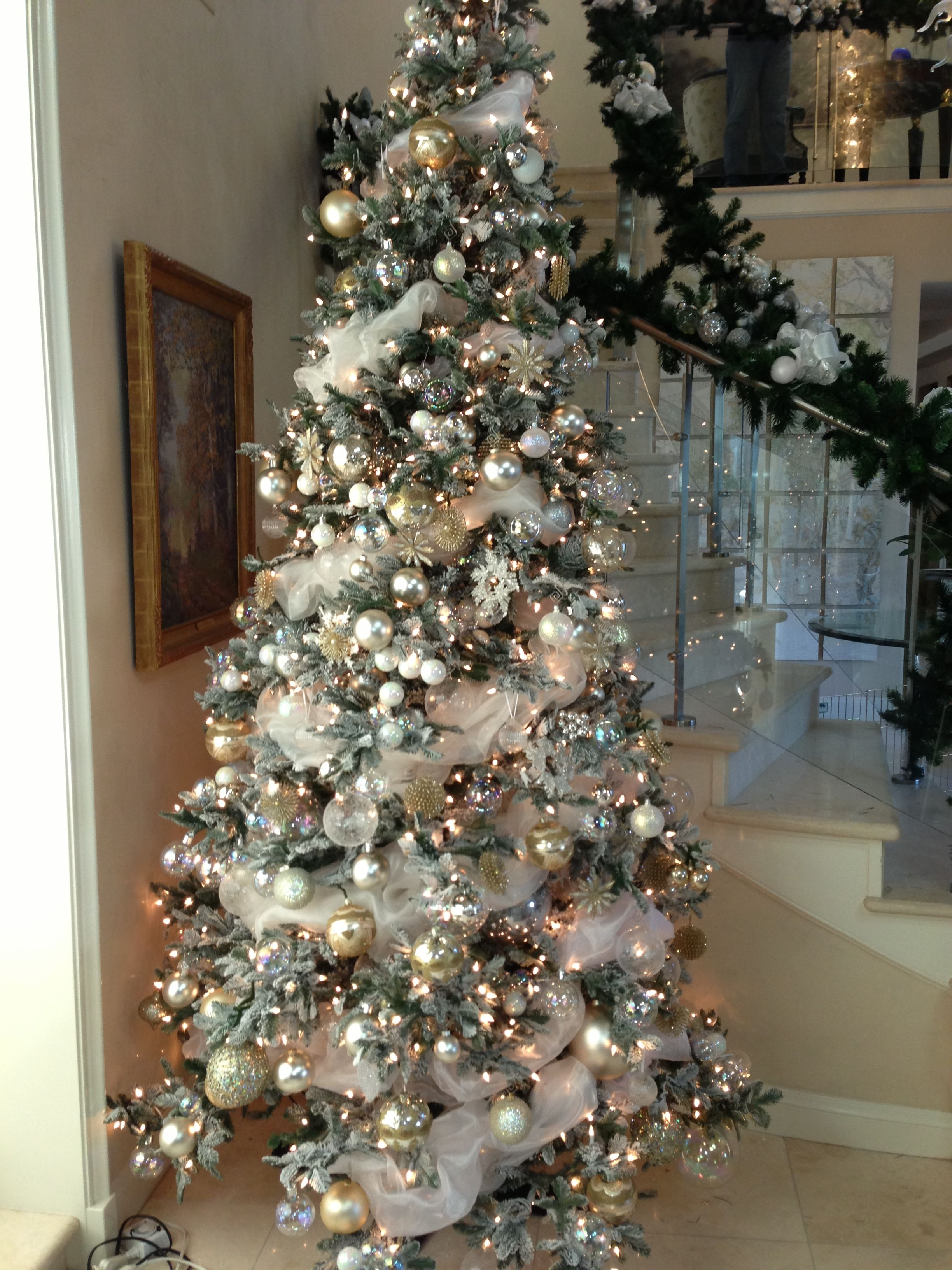 White And Silver With A Touch Of Champagne Color Ornaments