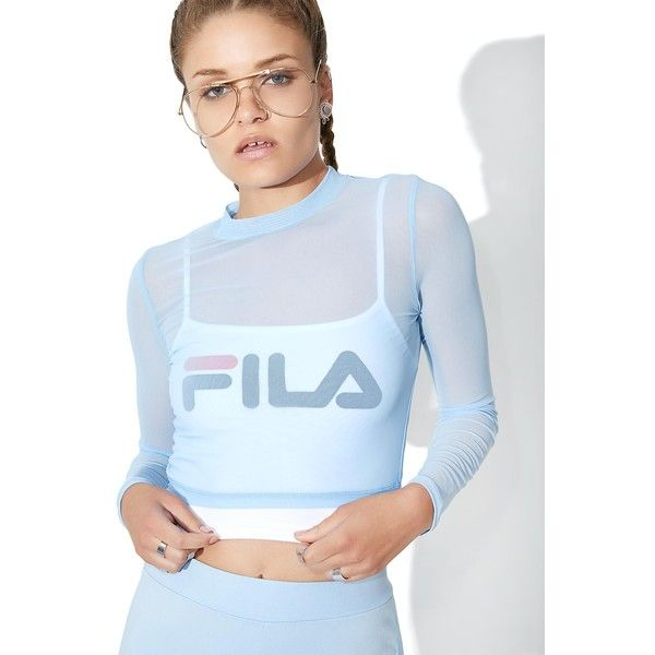 Fila Rachelle Sheer Cropped Top ($50) ❤ liked on Polyvore featuring tops, blue crop top, cut-out crop tops, cropped camis, see through tops and sheer camisole tops