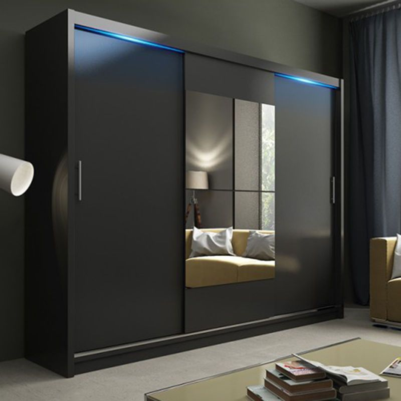 Modern Bedroom Wardrobe With Sliding Doors And Mirror Kier Black Led Light Yes Ebay Sliding Wardrobe Doors Wardrobe Doors Sliding Wardrobe Designs
