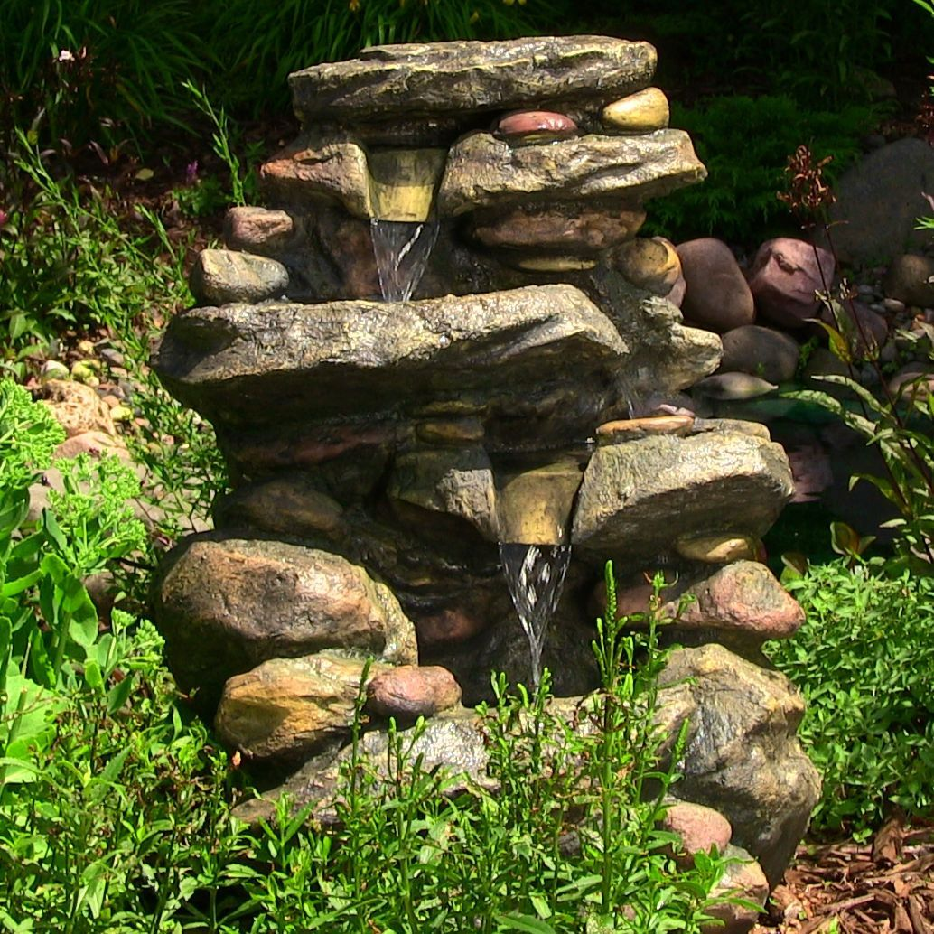 3 tier cascading rock outdoor indoor water fountain with led for 3 tier cascading rock outdoor indoor water fountain with led for garden or yard decor and home made of durable fiber resin by jhsource on etsy pinterest