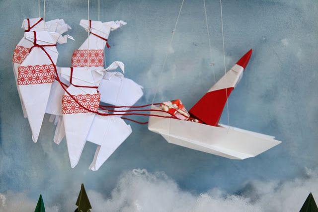 origami christmas scene