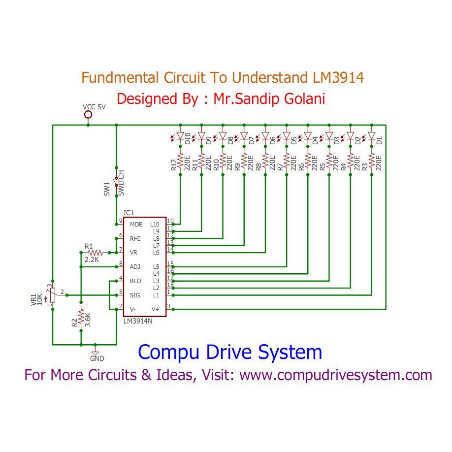 Lm3914 Application Circuits Lm3914 Circuit Diagram