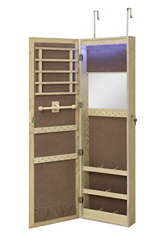 Lockable Wall Mounted Over the Door Jewelry Organizer Armoire