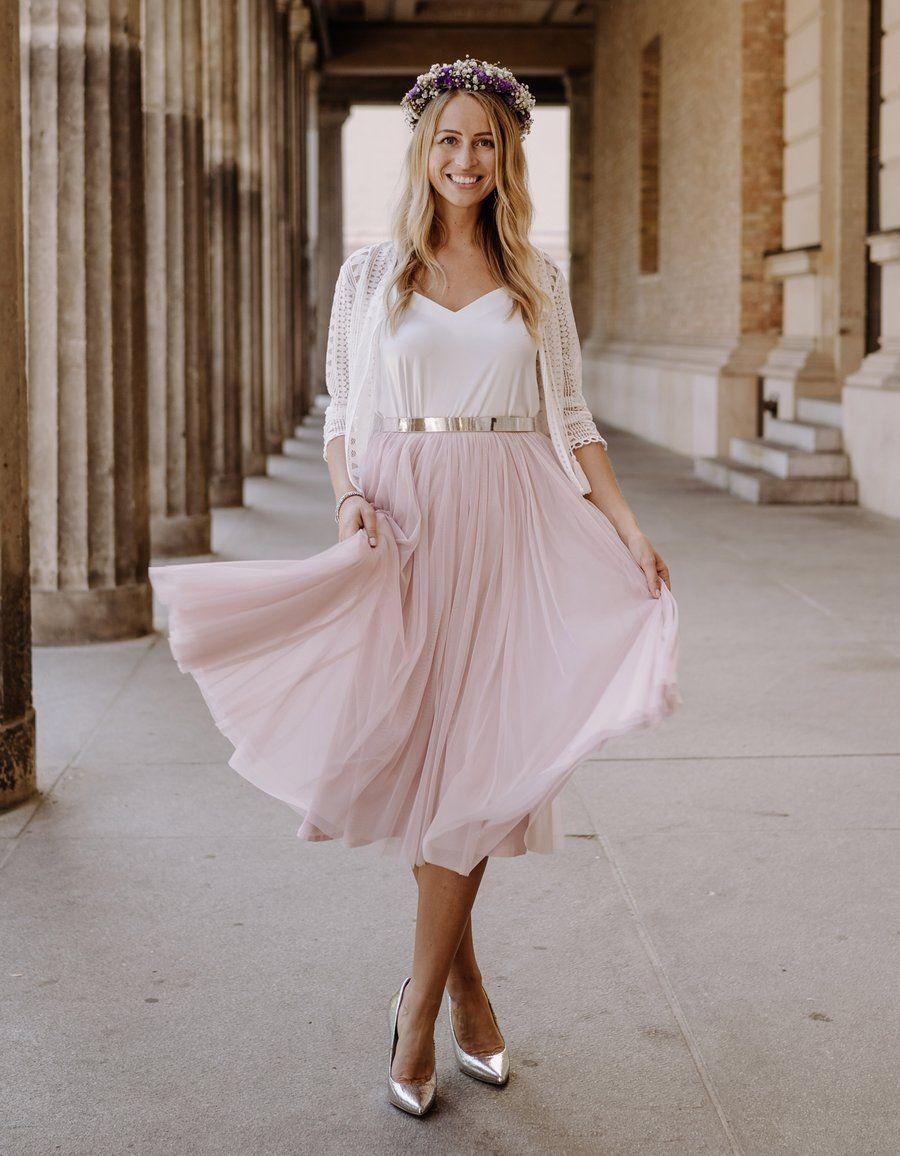 CONSTANT LOVE Tüll Rock Midi Soft-Rose in 10  Kleid standesamt