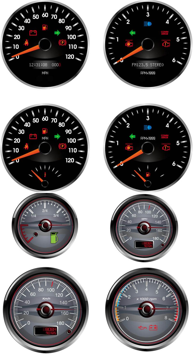 Car dashboard (speedometer, tachometer, fuel) vector | Car