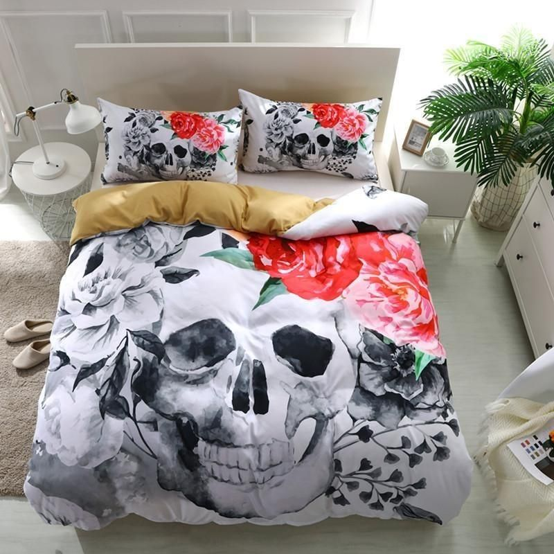 3d Pink Rose Sugar Skull Bedding Set Skull Bedding Sets Skull