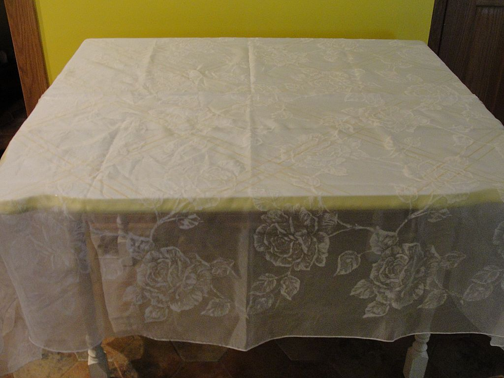 Roses White On White Oval Tablecloth