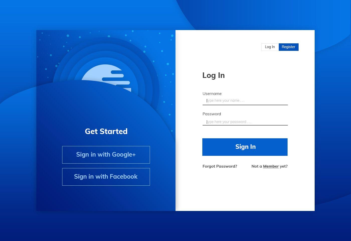 Blue Creative Log in Page Login design, Login page