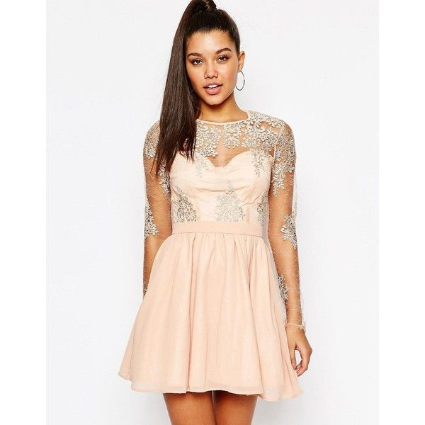 Missguided Lace Sleeve Prom Dress ($47) ❤ liked on Polyvore ...