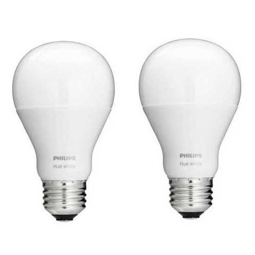 Philips 455295 Hue White A19 Single LED Bulb, 60W Equivalent, 2-Pack