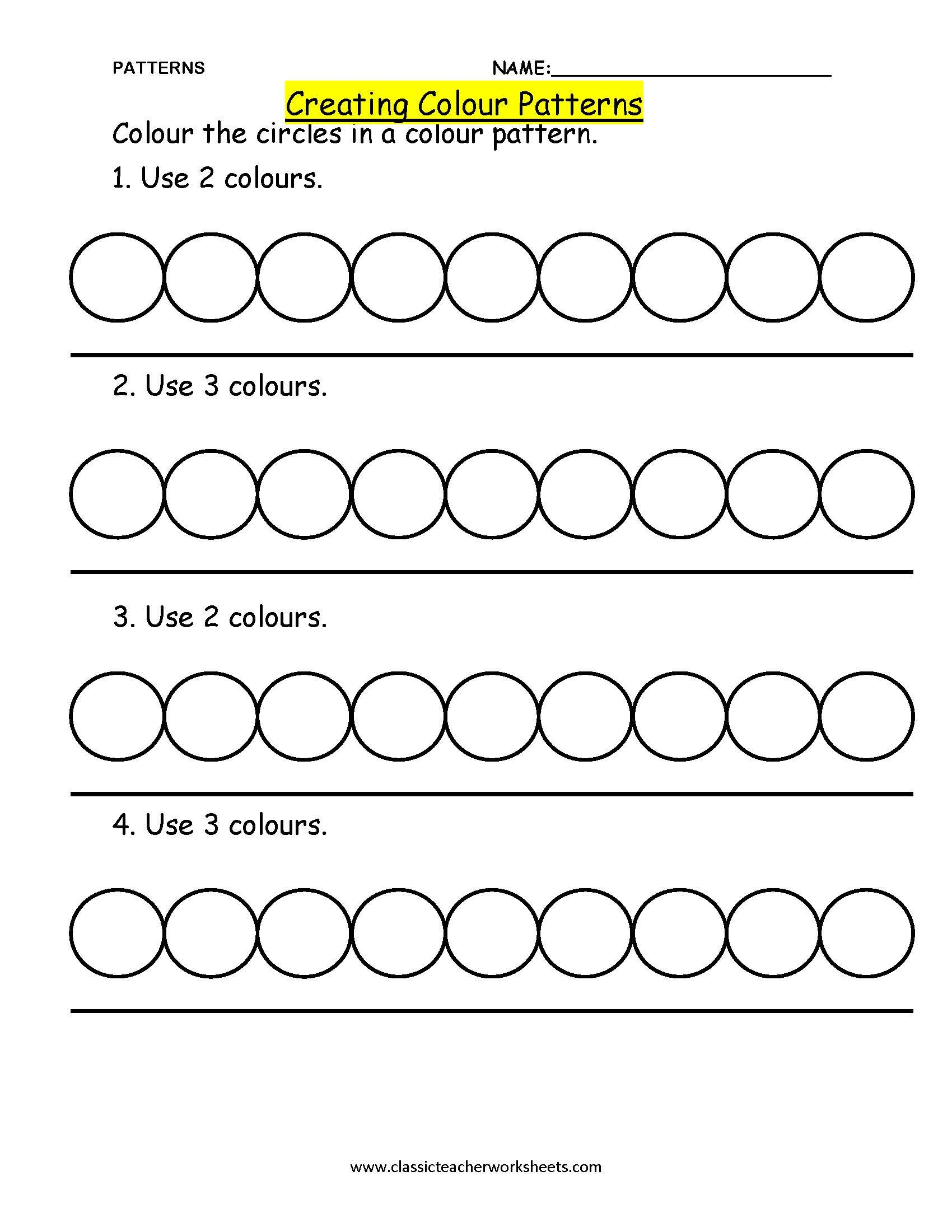 Math Pattern Worksheets For Kindergarten
