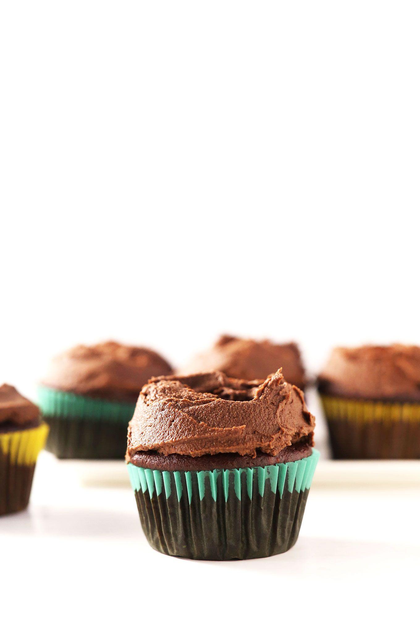 THE BEST Vegan Gluten Free Chocolate Cupcakes! Fudgy, moist and just 1 bowl required! #vegan #glutenfree #chocolate