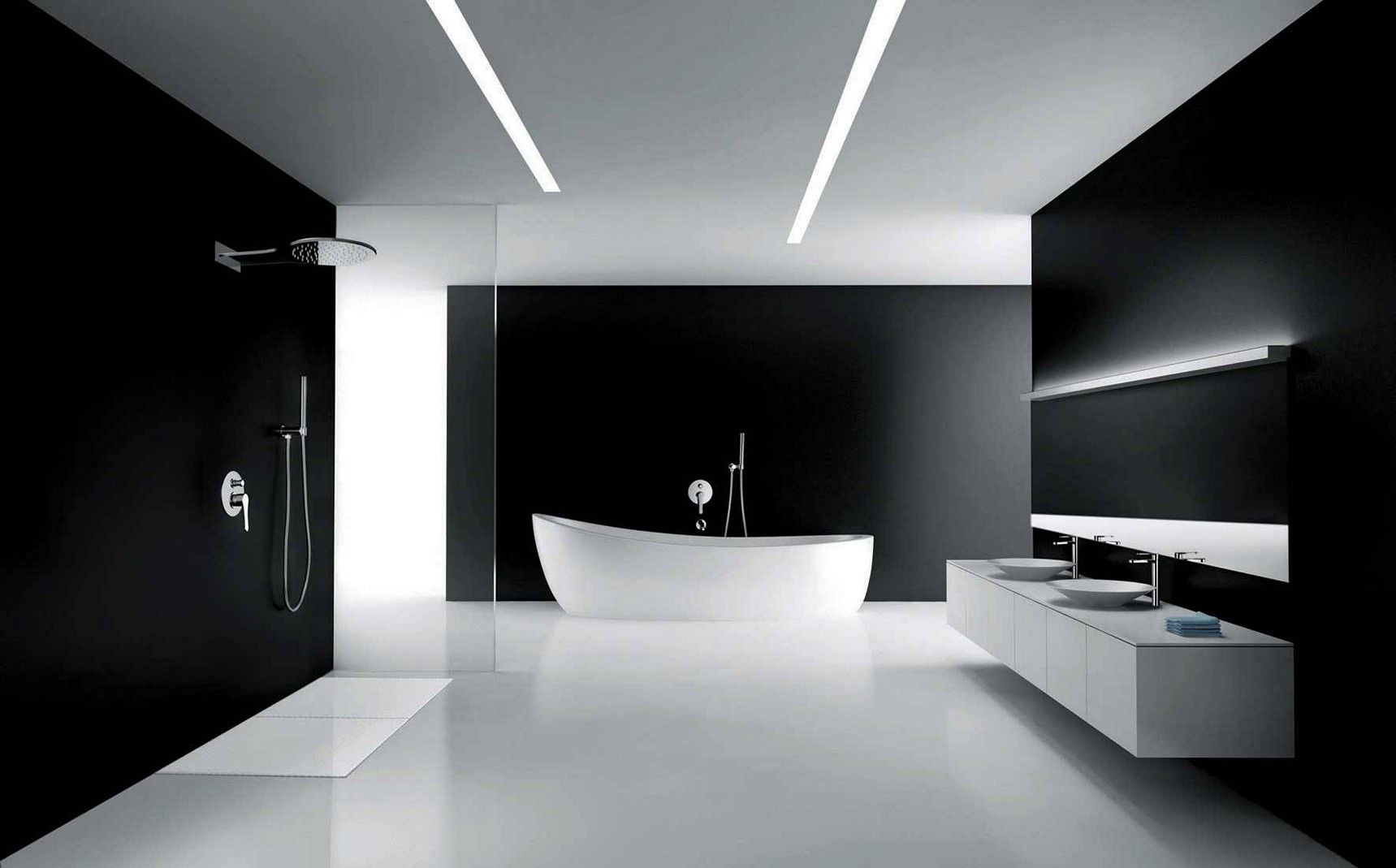 Black And White Bathroom Wall Color Ideas black nickel plated makes a statementitself and gives character