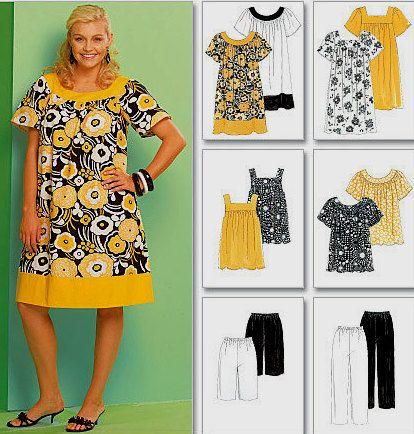 Plus Size Tunic Dress Capri Pants Sewing Pattern - 4 Sizes | Capri ...