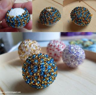 Zuleykha's polymer clay: A bead covered with seed beads