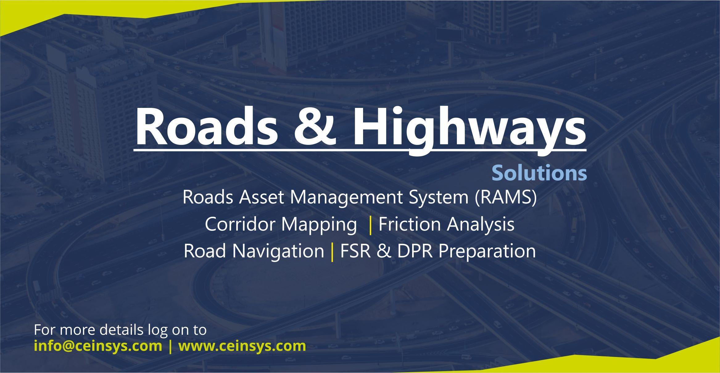 Roads Highways Roads Asset Management System Corridor Mapping Friction Analysis Road Navigation Dpr Fsr Pre Infrastructure Asset Management Solutions