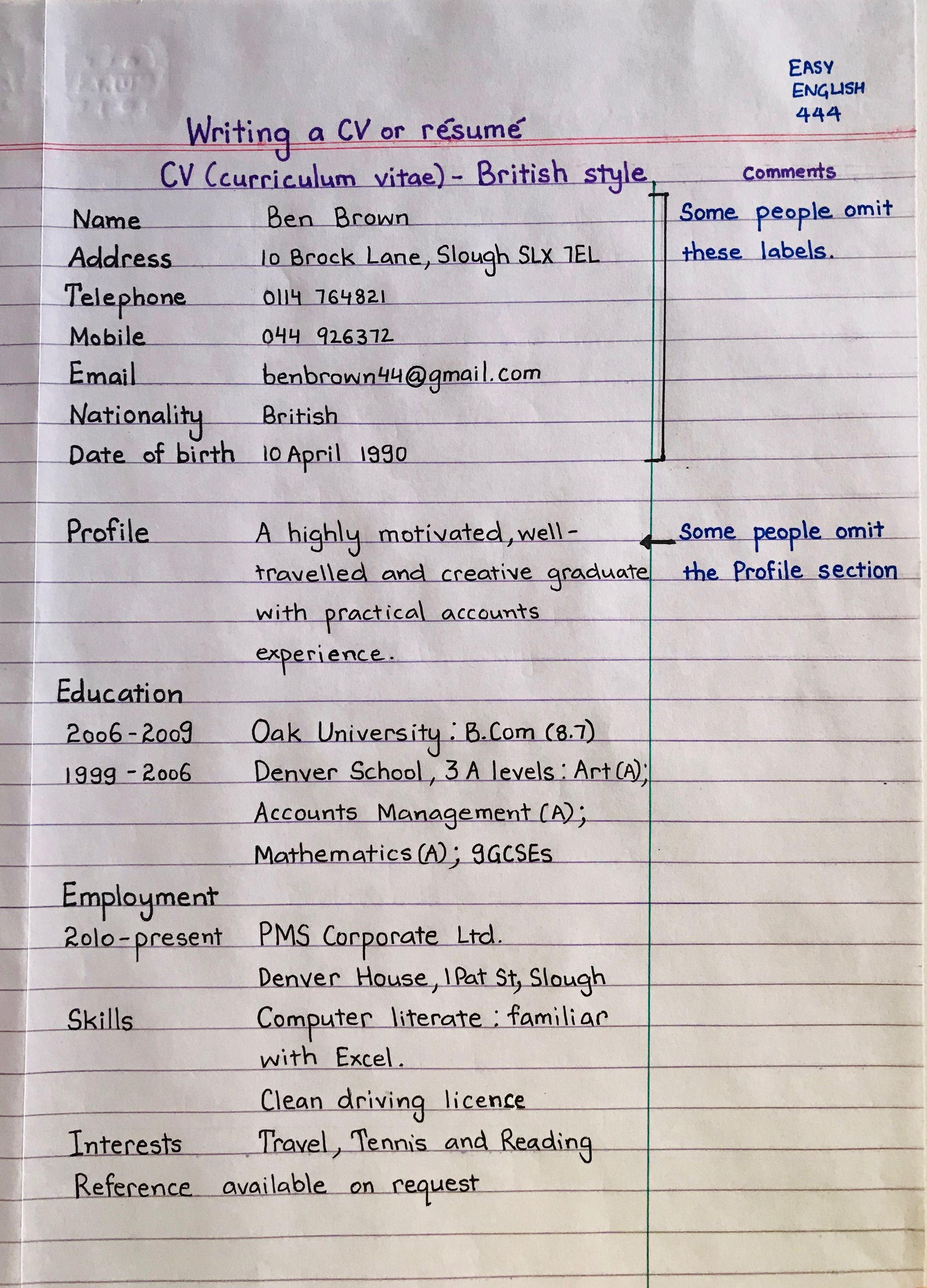 CV english learnenglish handwritten Learn english