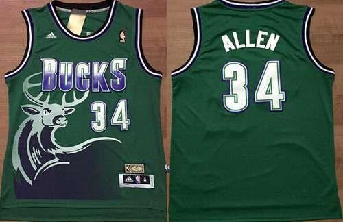 2879cea6faf Men s Milwaukee Bucks  34 Ray Allen ABA Hardwood Classic Swingman Green  Throwback Jersey