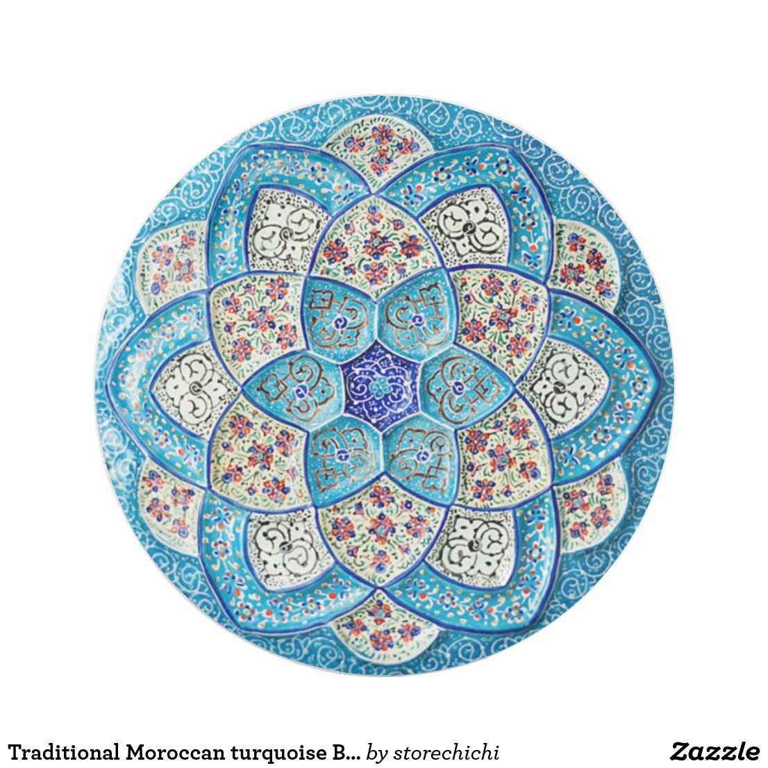 Traditional Moroccan turquoise Blue, white, salmon Paper Plate ...