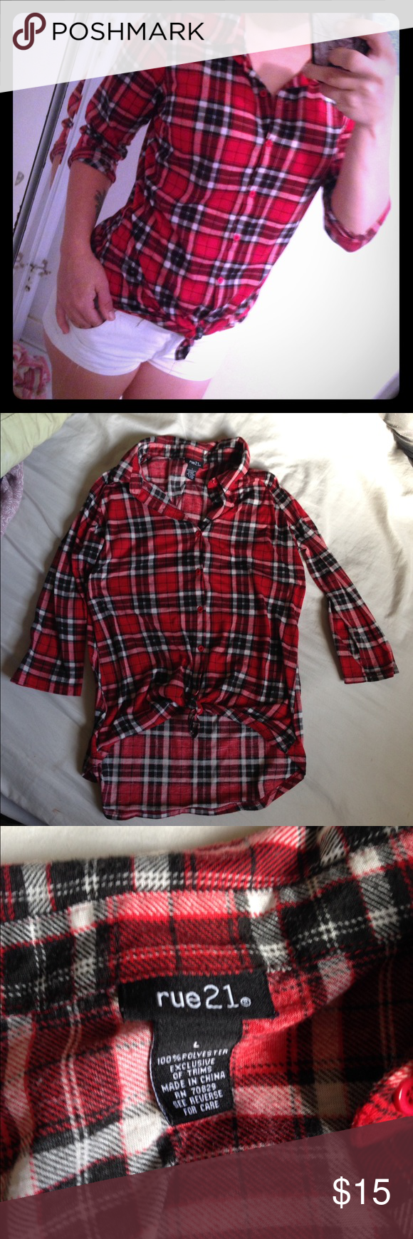 Rue21 flannel half sleeve💕 Size large fits medium great condition , fast shipping with a free gift 🎁 💕 open to offers Rue21 Tops Tees - Long Sleeve