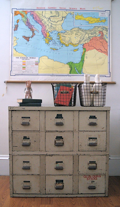 Vintage industrial storage cabinet with drawers via