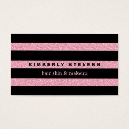 Modern elegant black stripes pink glitter business card artists modern elegant black stripes pink glitter business card artists unique special customize presents colourmoves