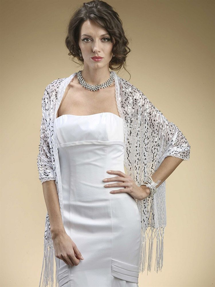 White with Silver Sequins Wrap Shawl | Pinterest | Silver sequin ...