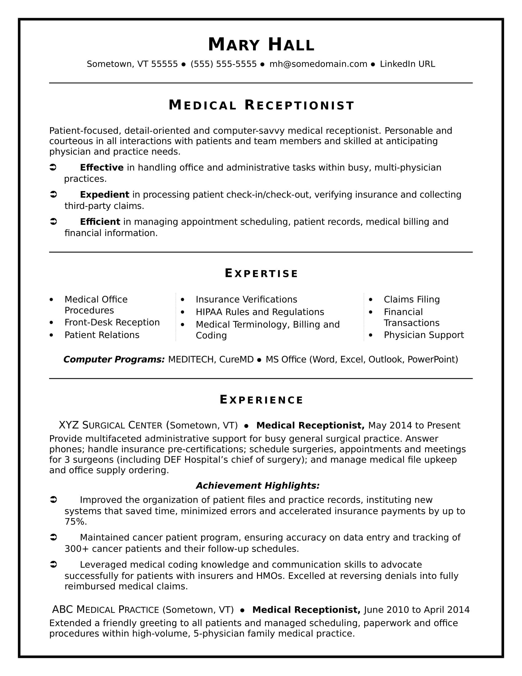 Medical Receptionist Resume Sample  Medical Receptionist And