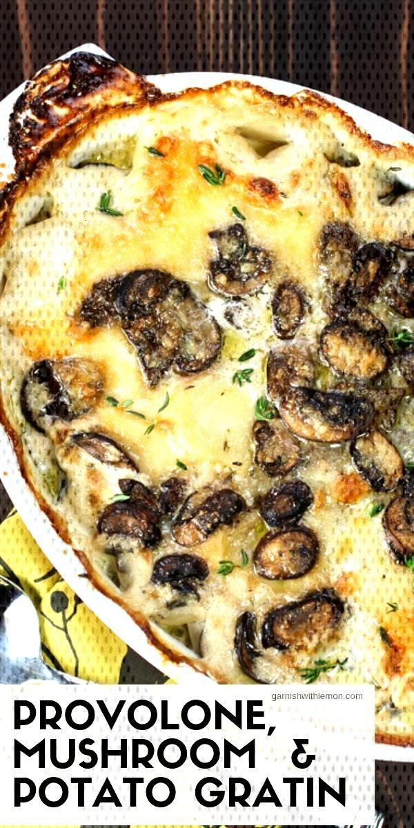 Recipe with provolone, mushrooms and potato gratin - Garnish with lemon - -